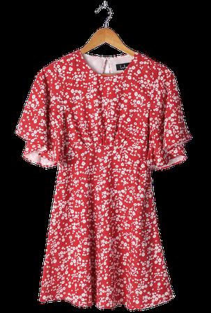 Red Floral Print Dress - Backless Dress - Cutout Floral Dress - Lulus