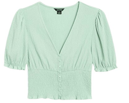 Shirred crop top - Mint green - Tops - Monki WW