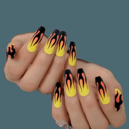 Yellow Orange Ombre Faux Ongles Fire Matte Black Flame Fake Nails Extra Long Coffin Shape Ladies Fingernails 24| | - AliExpress