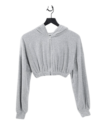 Pul&Bear cropped hoodie in gray   ASOS