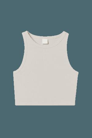 Ribbed Crop Top - Light beige - Ladies   H&M US