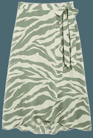 Satin wrap skirt - Pistachio animal print - Skirts - Monki WW