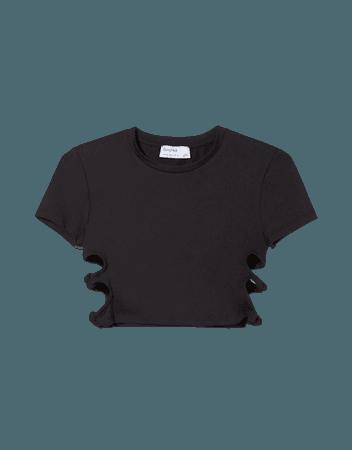 T-shirt with side knots - Tees and tops - Woman   Bershka