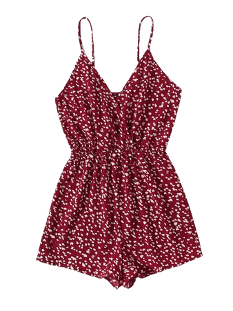 red Wrap Detail Ditsy Floral Cami Romper | SHEIN USA