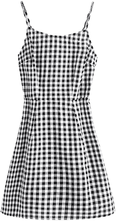 SweatyRocks Women's Spaghetti Strap Lace Up Back Casual Short Mini Gingham Dress at Amazon Women's Clothing store