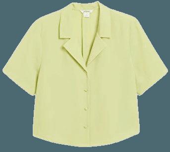Boxy button-up blouse - Green - Shirts & Blouses - Monki WW