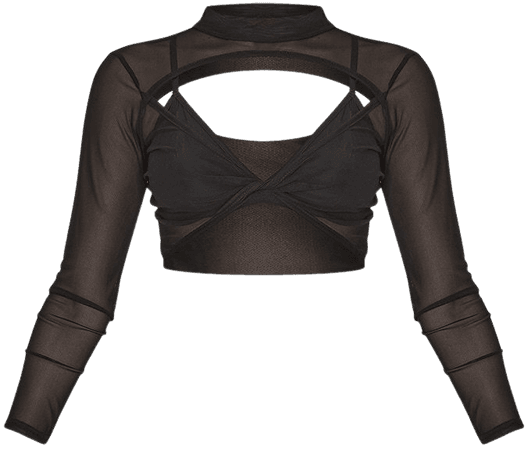 Black Twist Front Cut Out Mesh High Neck Crop Top | PrettyLittleThing USA