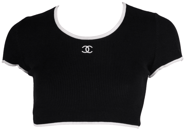 Chanel Crop Top - black/white at 1stdibs