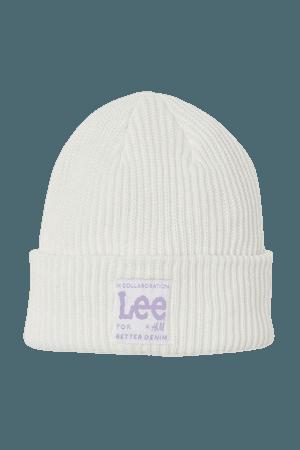Rib-knit Hat - White