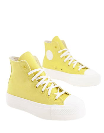 Converse Chuck Taylor All Star Hi Lift Hybrid Texture canvas platform sneakers in saturn gold | ASOS