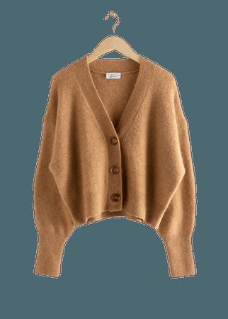 Alpaca Blend Puff Sleeve Cardigan - Beige - Cardigans - & Other Stories