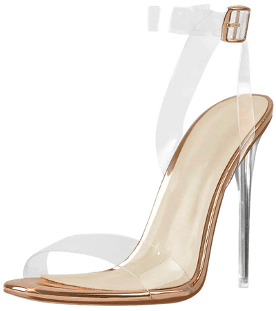 clear gold heels