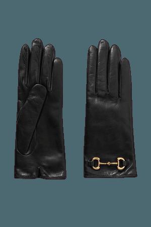 Black Horsebit-detailed leather gloves | Gucci | NET-A-PORTER