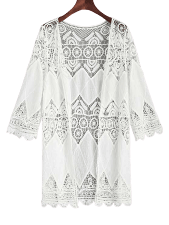 Crochet Kimono Cover Up White: Beach Tops One Size | ZAFUL