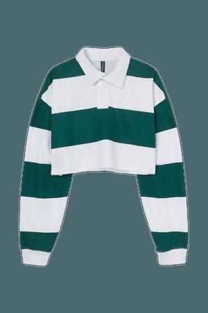 Rugby Crop Shirt - Dark green/striped - Ladies   H&M US