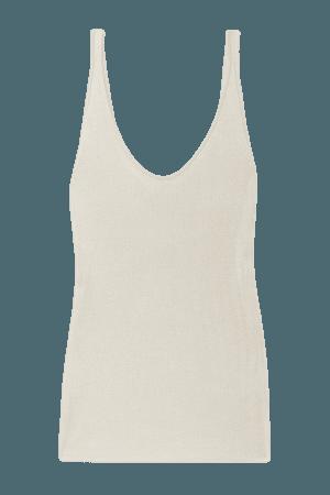 Ribbed Silk Tank - Beige