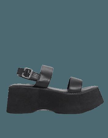 Koi Footwear chunky flatform sandals in black | ASOS