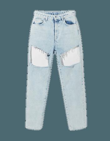 Mom cut-out high-waist jeans - Denim - Woman | Bershka