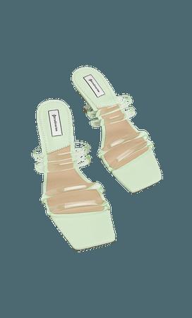 Vinyl high-heel strappy sandals - Women's Just in   Stradivarius United States