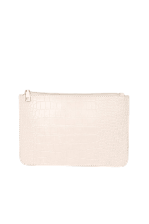 Beige Pouch - Crocodile Embossed Pouch - Vegan Leather Pouch - Lulus