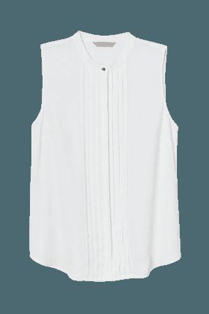 Sleeveless Pin-tuck Blouse - White