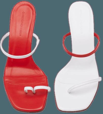 Fuyao Mismatched Leather Sandals by Christopher Esber   Moda Operandi