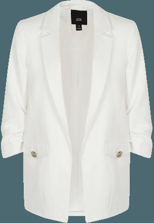 White pocket detail blazer | River Island