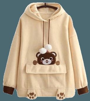 Happy Teddy Bear Hoodie Sweater Sweatshirt Mori Girl Brown Kawaii Babe