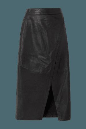 Hurum Leather Wrap Midi Skirt - Black