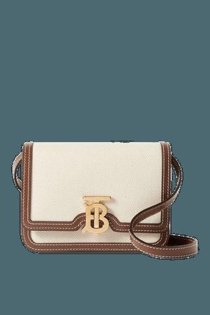 Mini Leather-trimmed Canvas Shoulder Bag - Brown