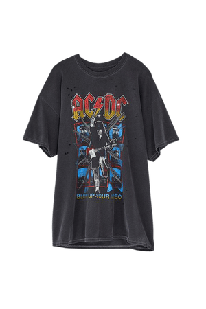 AC/DC Distressed T-Shirt Dress | Urban Outfitters