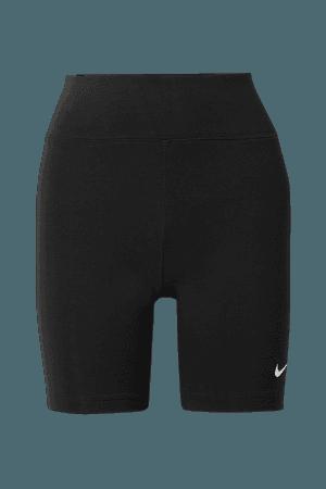 Black Leg-A-See stretch cotton-blend jersey shorts   Nike   NET-A-PORTER