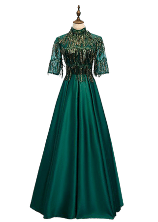 elegant formal green long satin evening dress with sequined sleeves #MYX79007 - GemGrace.com