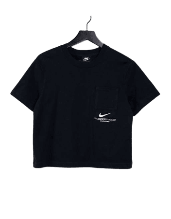 Nike Swoosh oversized t-shirt in black   ASOS