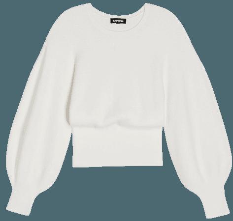 Balloon Sleeve Crew Neck Sweater   Express