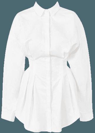 Clothing : Bodycon Dresses : 'Maddalena' White Cinched Waist Shirt Dress
