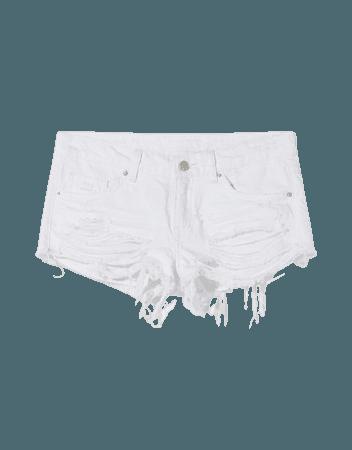 Low-rise denim shorts - Denim - Woman | Bershka