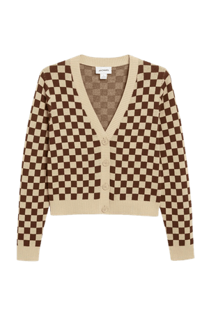 Fine knit cardigan - Brown checks - Cardigans - Monki WW