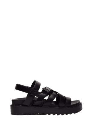 Faux Leather Strappy Buckle Sandals | Nasty Gal