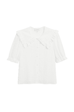 Seersucker blouse - White - Shirts & Blouses - Monki WW