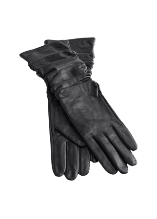 Ruched Leather Gloves - Black - Gloves - & Other Stories