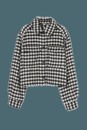 Crop Shirt Jacket - Black/houndstooth-patterned - Ladies   H&M US