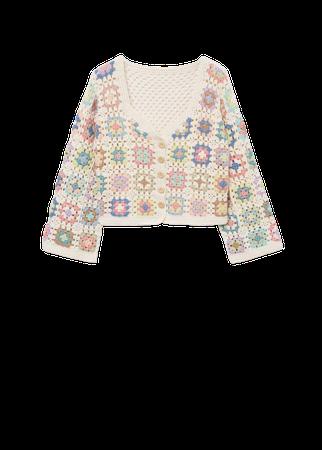 Cotton crochet cardigan - Women | Mango USA