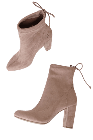 Dusty Rose Booties - Chic Suede Sock Boots - Tying Ankle Booties - Lulus
