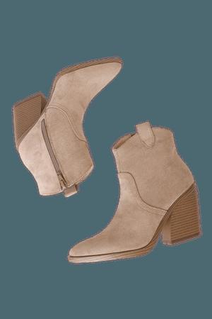 Beige Suede Boots - Pointed Toe Boots - Block Heel Ankle Booties - Lulus