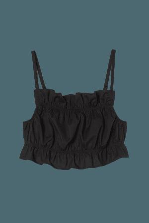 Flounce-trimmed Crop Top - Black - Ladies | H&M US