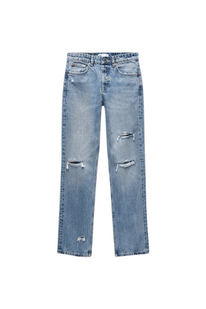 RIPPED STRAIGHT JEANS   ZARA United States