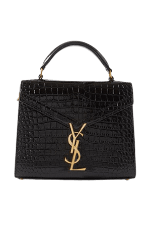 Cassandra Mini Croc-effect Leather Tote - Black