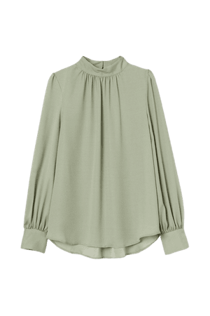 Wide-cut Blouse - Light green - Ladies   H&M US