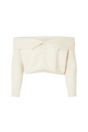 Cropped Off-the-shoulder Cotton-blend Cardigan - White
